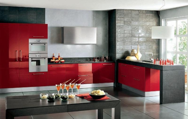 Cocinas Modernas Blancas Con Encimera Roja. Cocina Silestone Haiku ...